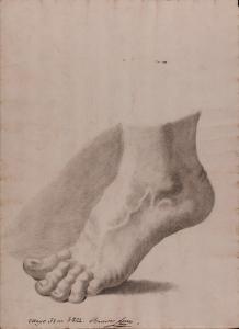 Estudio de pie izquierdo de puntillas de perfil, por Lorenzo Valdés Bango. Colección de dibujos de la Real Academia de Bellas Artes de San Fernando de Madrid.