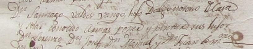 Inscripción en el Padrón de 1815 de Santiago Valdés Bango y sus hijos, Archivo de la Casa Nueva del Campo de Pravia.