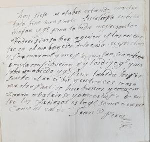 Nota de Francisco Pérez, alcalde de barrio de San Martín de Luiña. AHM 97/1