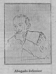 """Retrato de Benigno Arango publicado en """"La Voz de Asturias"""" de 3 de julio de 1925, durante el juicio por el asalto al Banco de España de Gijón."""